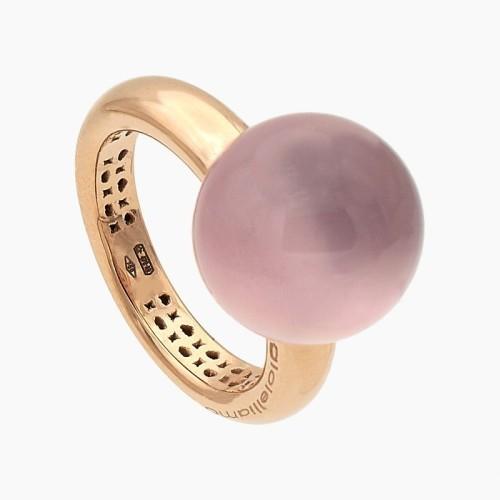 Sortija de oro rosa cuarzo