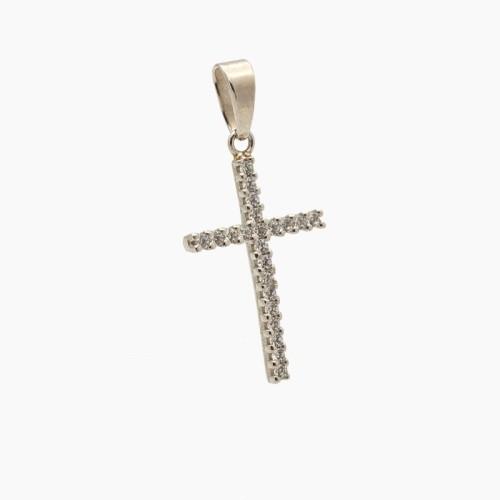 Cruz de oro blanco con circonitas