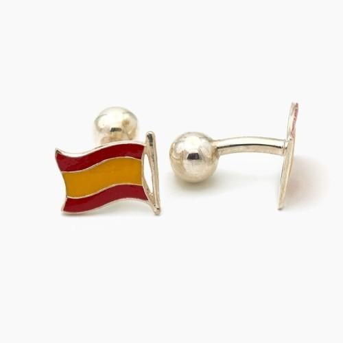 Gemelos bandera de España y plata