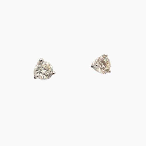 Pendientes de tres garras en oro blanco con diamantes