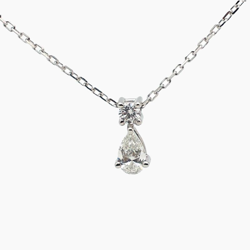Gargantilla de oro blanco y dos diamantes B-201
