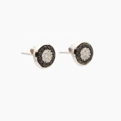 Pendientes oro blanco con diamantes blancos y negros - 15N26