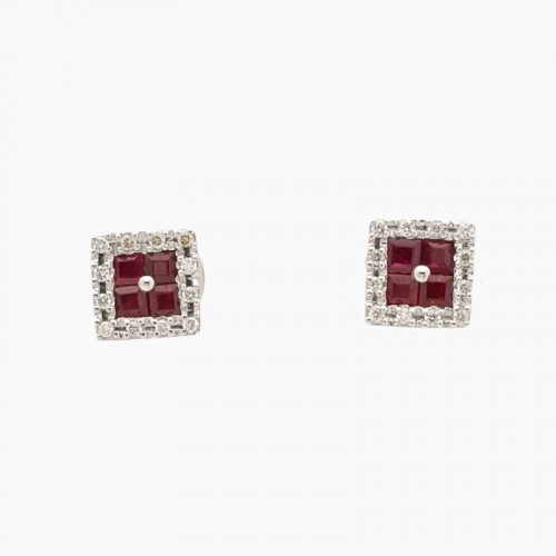 Pendientes cuadrados de diamantes y rubíes - 10R81