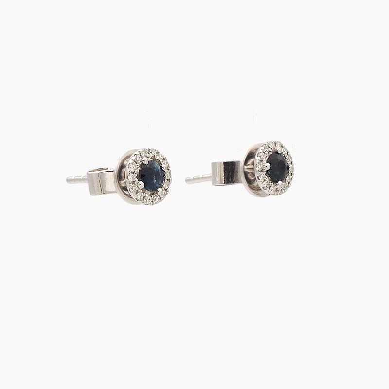 Pendientes de oro blanco con zafiros y diamantes - 10Z24