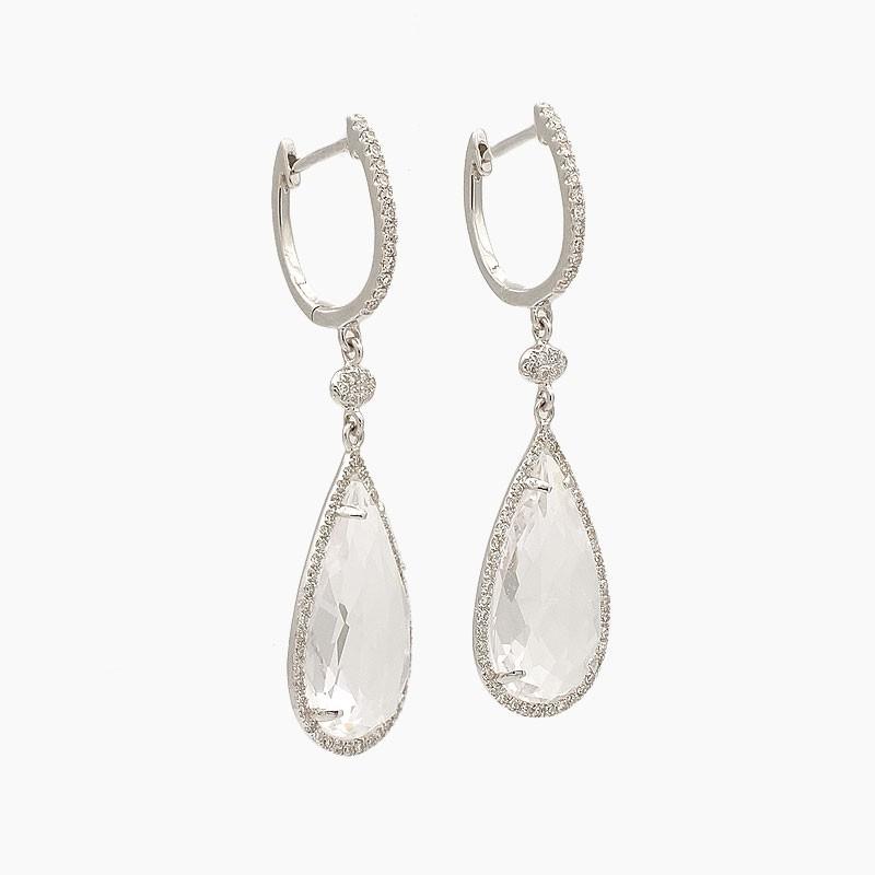 Pendientes en forma de gota con topacios blancos y diamantes - 31T89