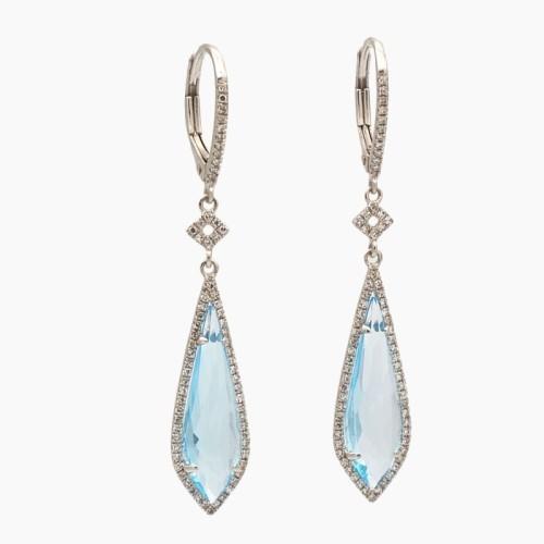 Pendientes en forma de gota con topacios azules y diamantes - 32T53