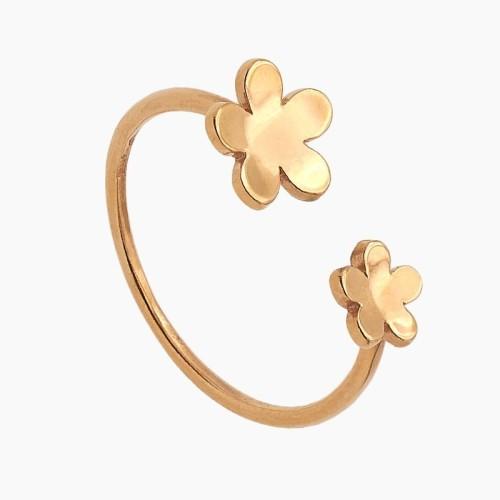 Sortija abierta de flores en oro rosa...