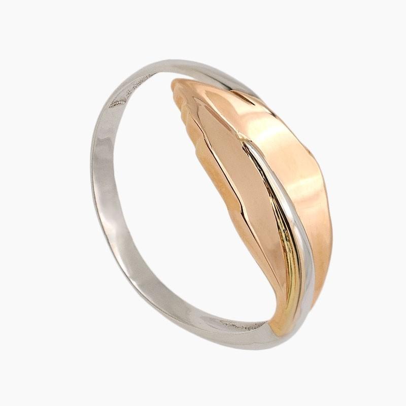 Sortija de oro bicolor en forma de hoja - 2295