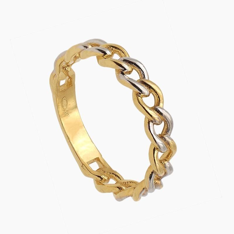 Sortija de oro bicolor en forma de cadena - 1400