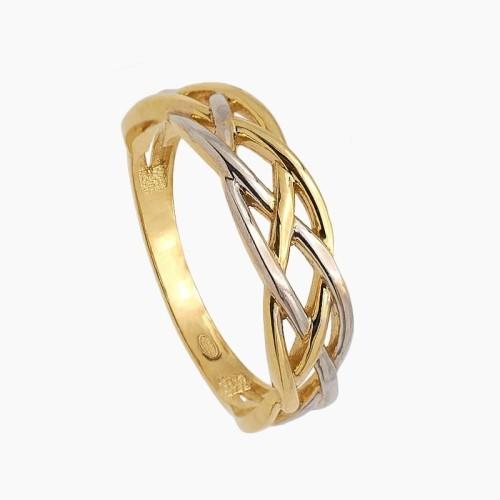 Sortija trenzada de oro bicolor  - 0540