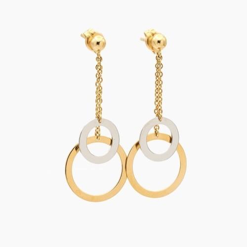 Pendientes de cadenita y círculos en oro bicolor - 1310