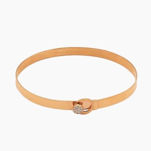 Pulsera rígida de oro rosa con circonitas - 1179