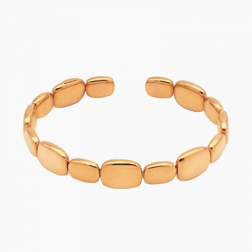 Pulsera rígida abierta de oro rosa - 0065