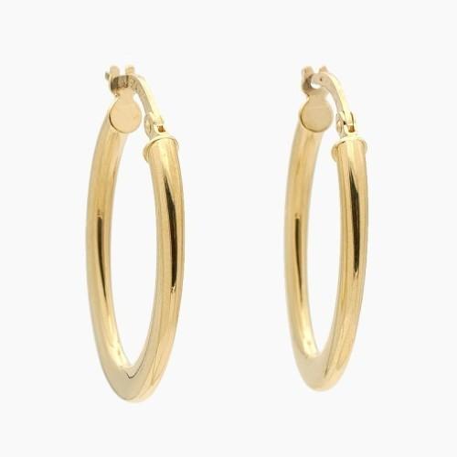 Pendientes de oro en forma de aro ovalado - 0190