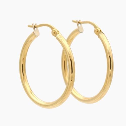 Pendientes de oro en forma de aro liso - 1204