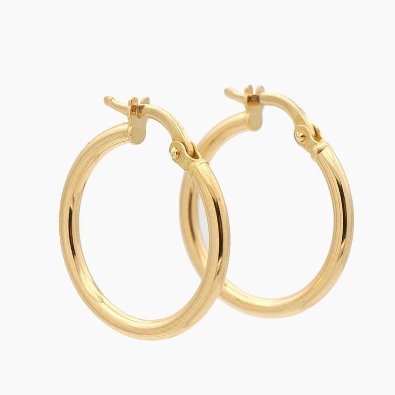 Pendientes de oro amarillo en forma de aro liso - 1300