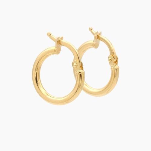 Pendientes de oro amarillo en forma de aro liso - 0115