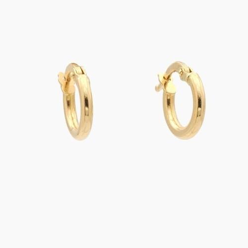 Pendientes de oro amarillo en forma de aro liso - 0100
