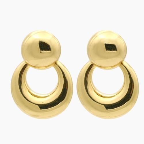 Pendientes largos de oro amarillo de gran volumen - 2130