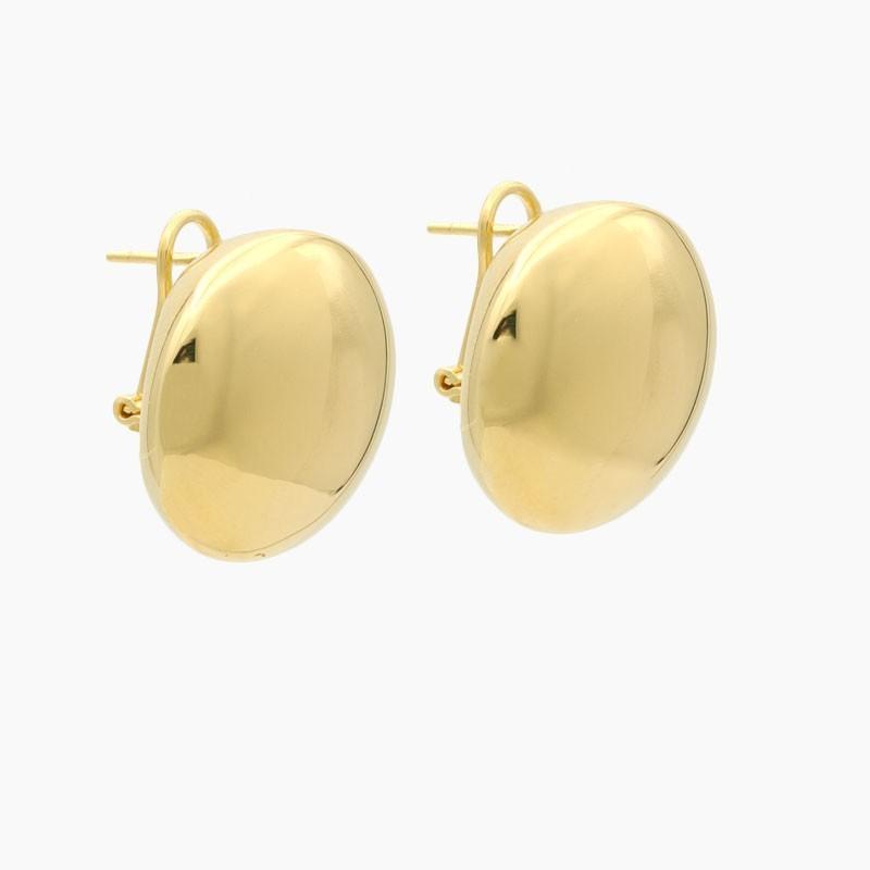 Pendientes de botón en oro amarillo de gran volumen - 0030