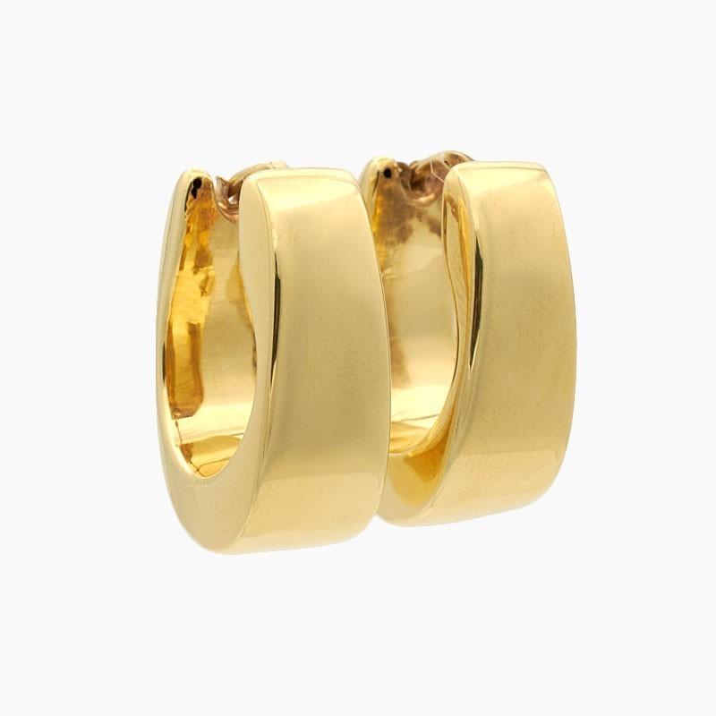 Pendientes de oro amarillo en forma de aro ovalado - 7030