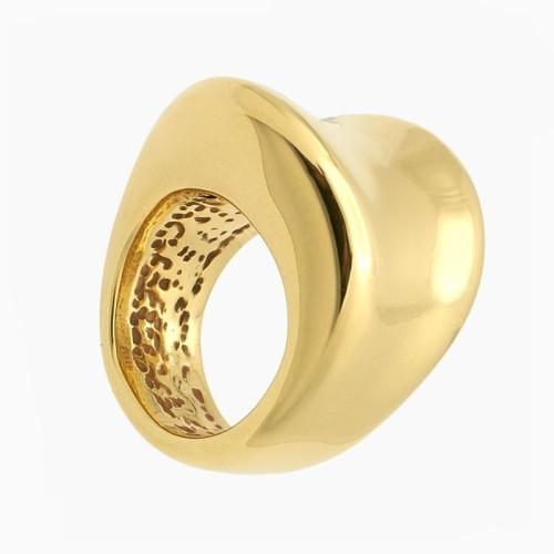 Sortija torsionada de oro con gran volumen - 0030