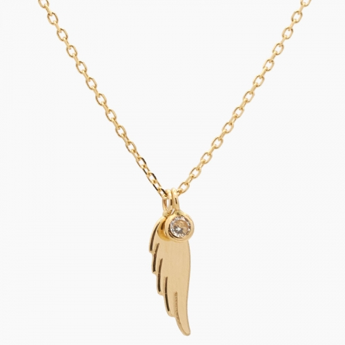 Gargantilla ala de ángel en oro y...
