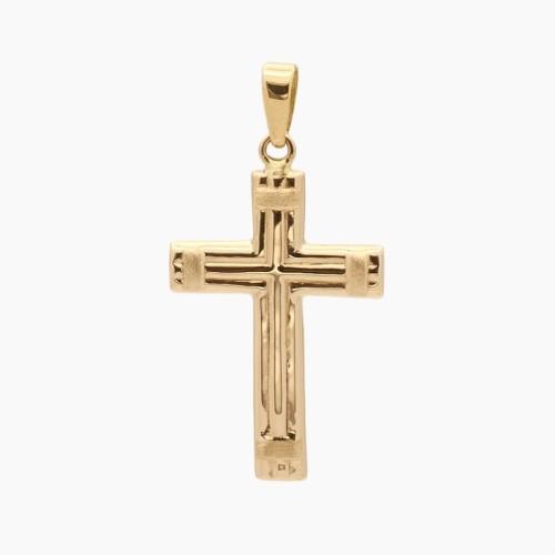 Cruz latina de oro amarillo - 0273