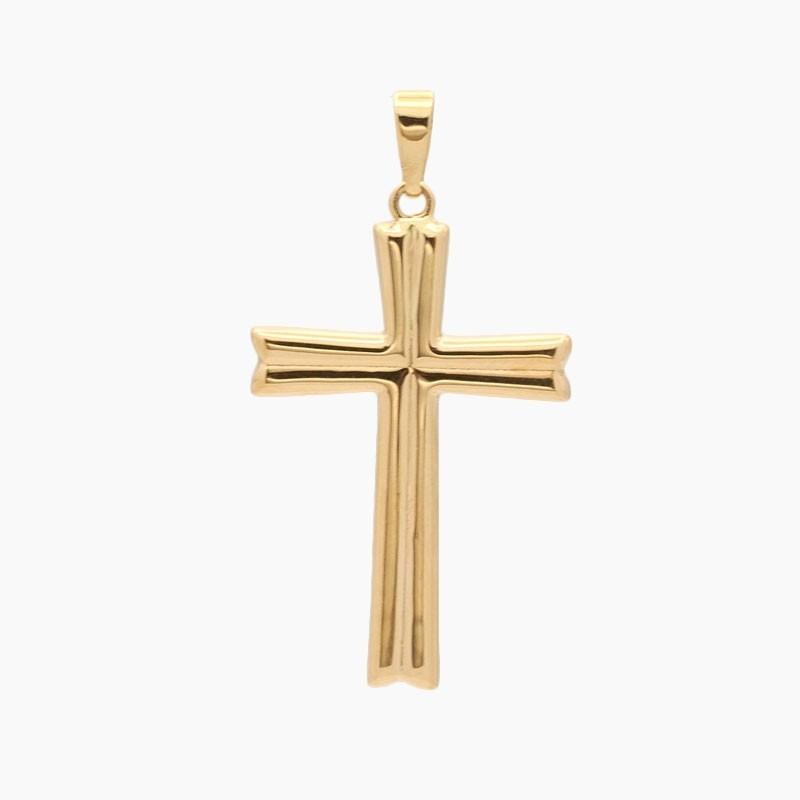 Cruz latina de oro amarillo - 3373
