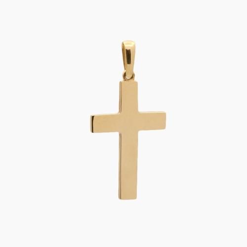 Cruz latina maciza de oro amarillo - 6840
