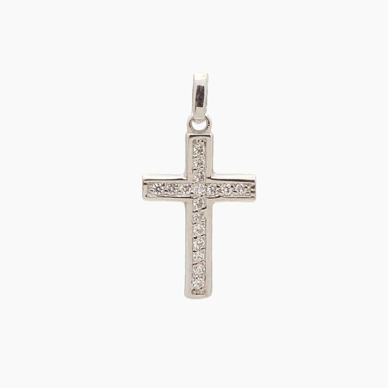 Cruz latina de oro blanco y circonitas - 7841