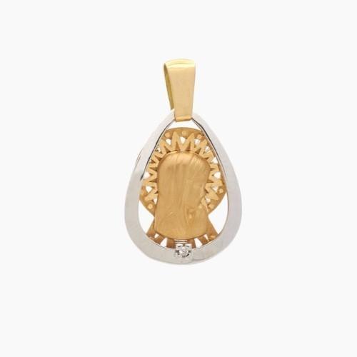 Medalla de la Virgen Niña en oro bicolor - 2840