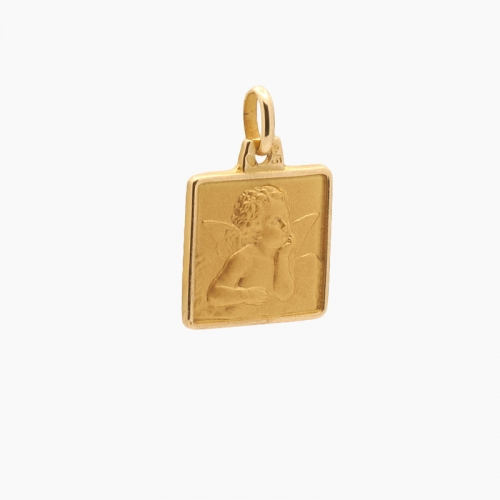 Medalla cuadrada de angelote en oro -...