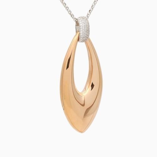 Colgante largo en Plata y oro rosa con circonitas - 1166