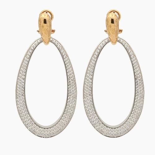 Pendientes ovalados en plata con oro...