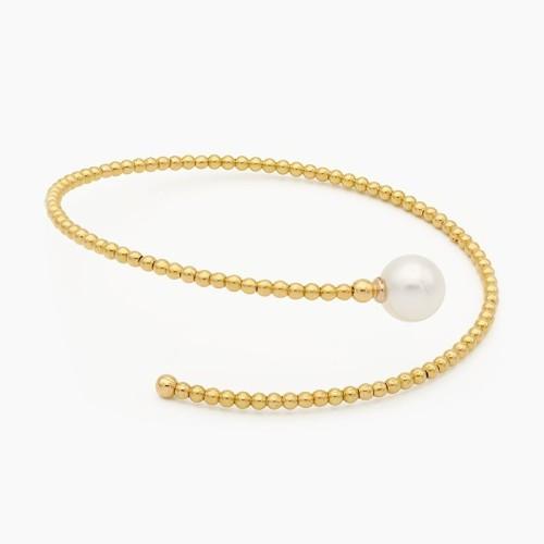 Pulsera de oro amarillo y perla...