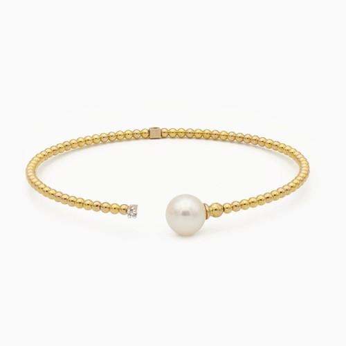Pulsera de oro amarillo con perla...