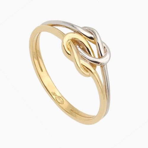 Sortija de nudos en oro bicolor - 1348