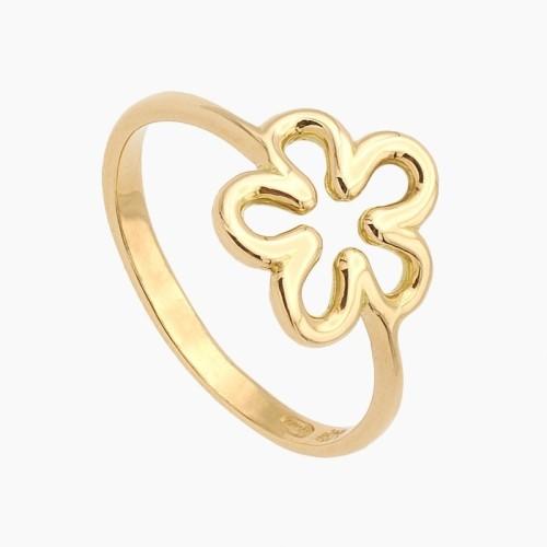 Sortija en oro con diseño de flor - 0340