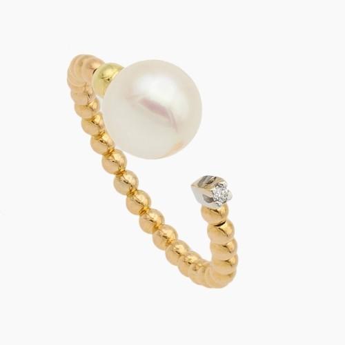 Sortija de oro con perla y diamante -...