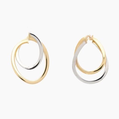Pendientes de oro bicolor en doble aro