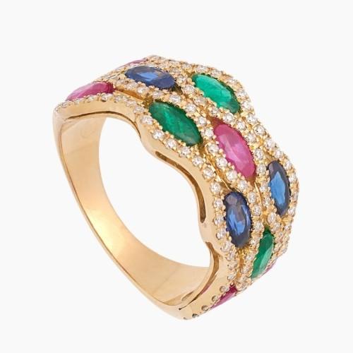 Sortija de oro con diamantes, rubíes,...