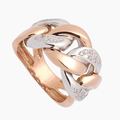 Sortija de oro bicolor con diamantes