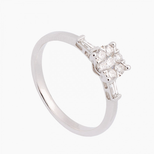 Sortija de oro blanco y diamantes - 3544
