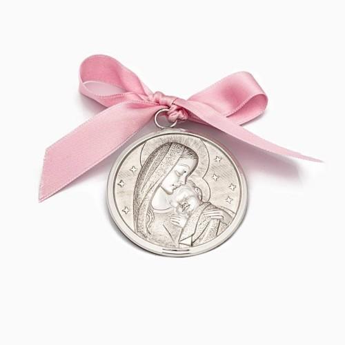 Medalla de cuna con la Virgen y el...