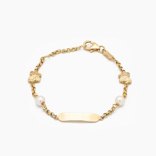 Esclava para bebé en oro con perlas