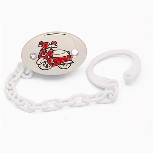 Pinza portachupetes en plata con moto