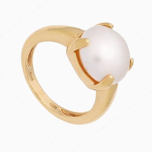 Sortija de  oro amarillo con perla...