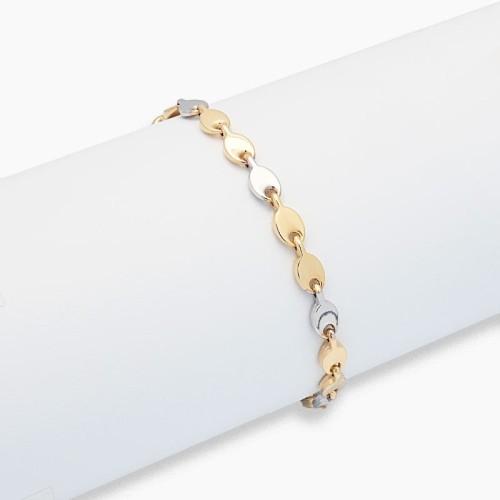 Pulsera articulada de oro bicolor