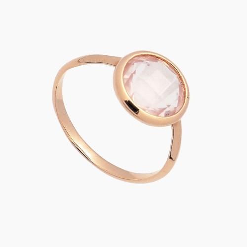 Sortija de oro y piedra rosa